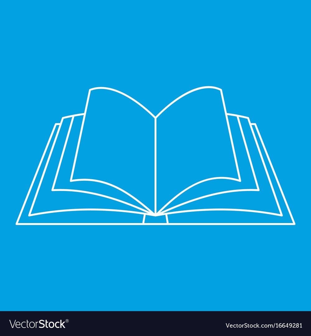 Open book icon outline style