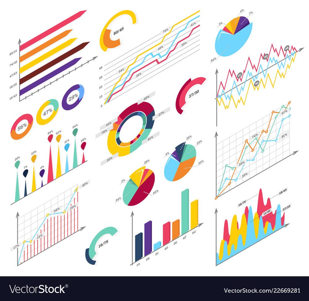 Set elements isometric infographics info bars