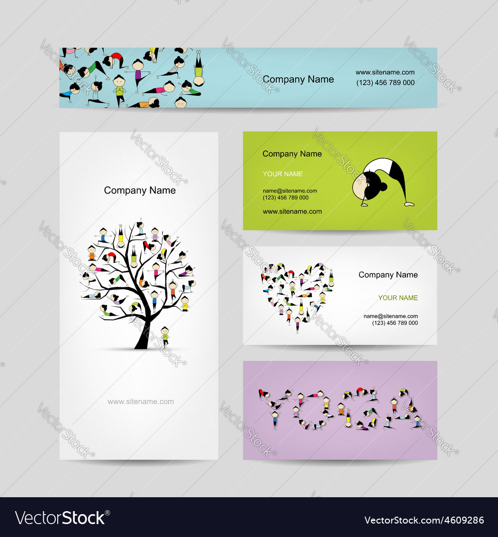 Business cards design yoga tree Royalty Free Vector Image