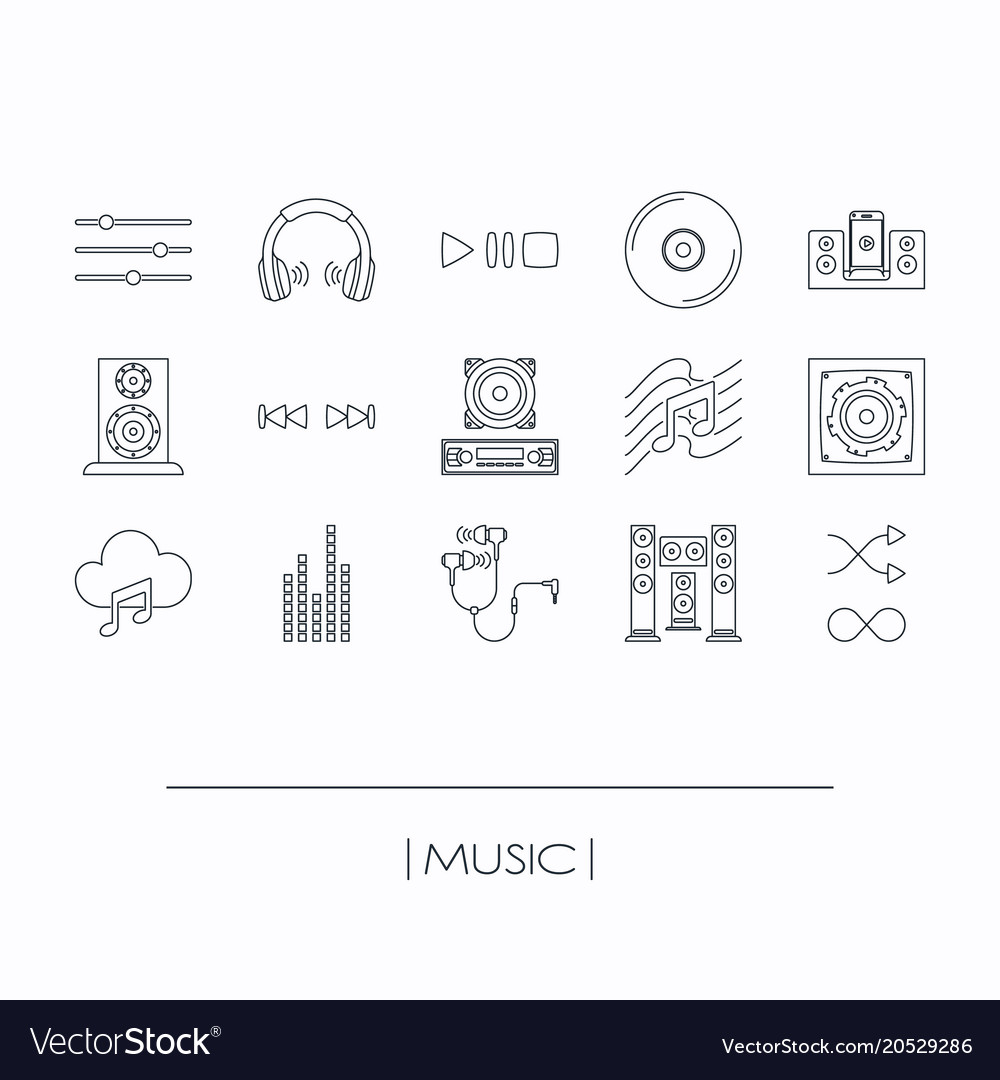 Collection of music elements outline icons