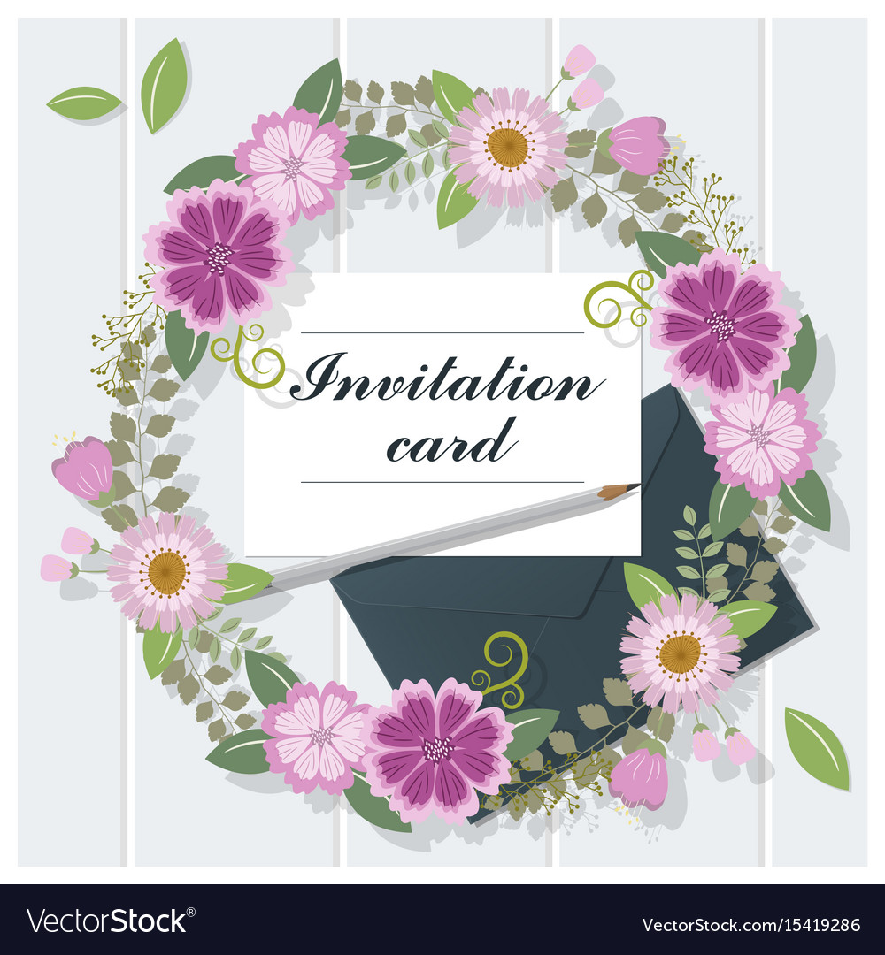 Invitation card collection on wooden background