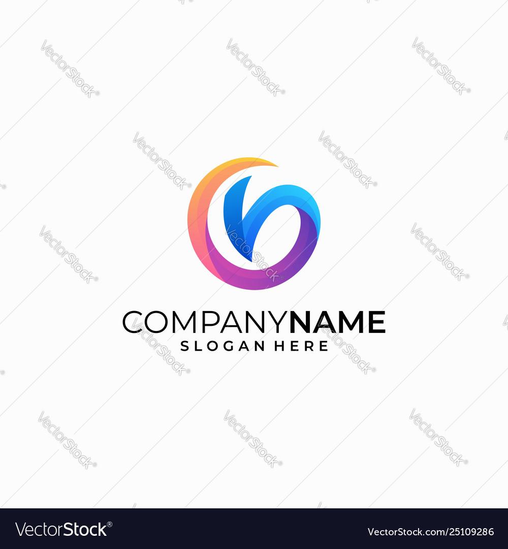 Letter v color concept design template