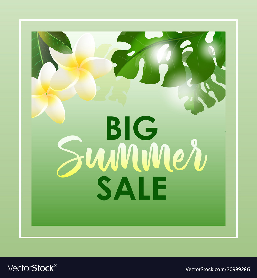 Summer sale banner with exotic flowers and leaves