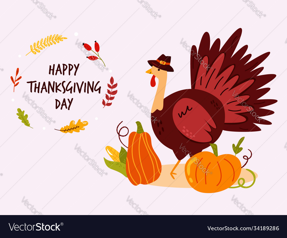 Thanksgiving design with funny turkey in hat and