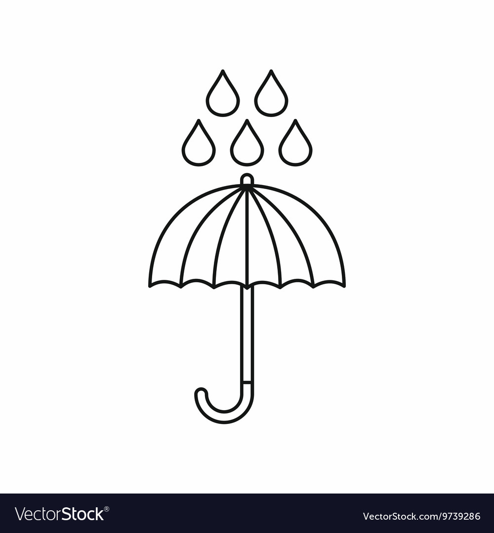 Umbrella and rain drops icon outline style vector image