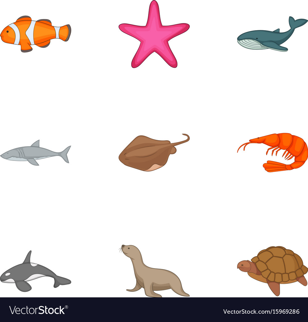 Underwater animals icons set cartoon style vector image