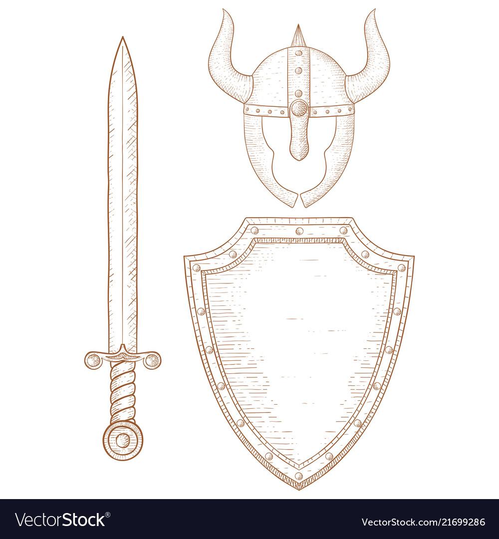 Warrior equipment - sword shield horned helmet
