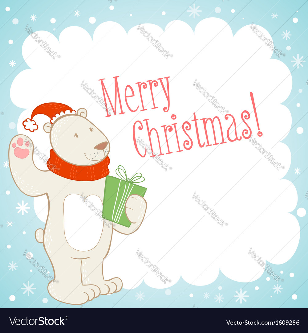 White polar bear Christmas greeting card