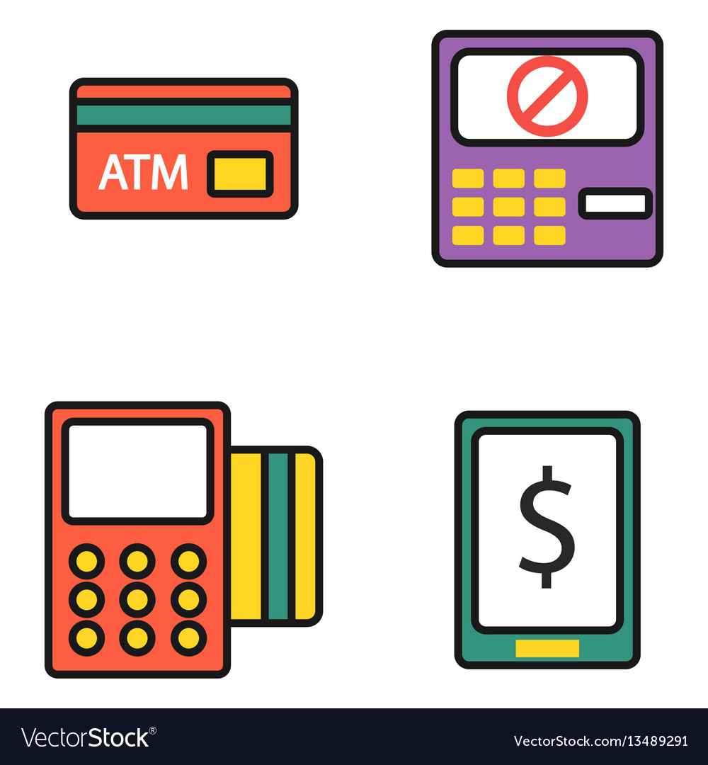 atm pos terminal with hand credit card icons vector image