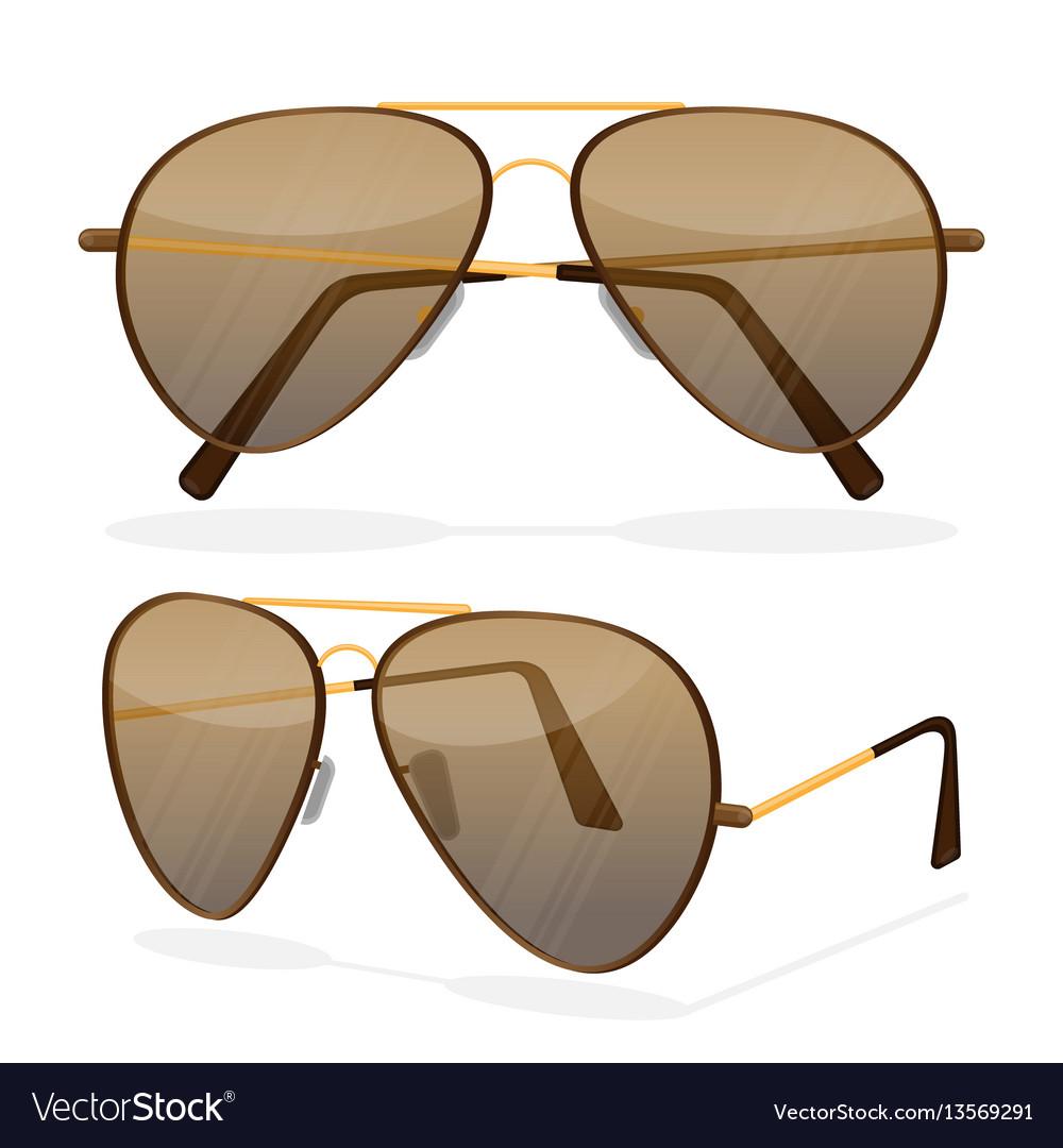 Aviator sunglasses isolated on white dark brown