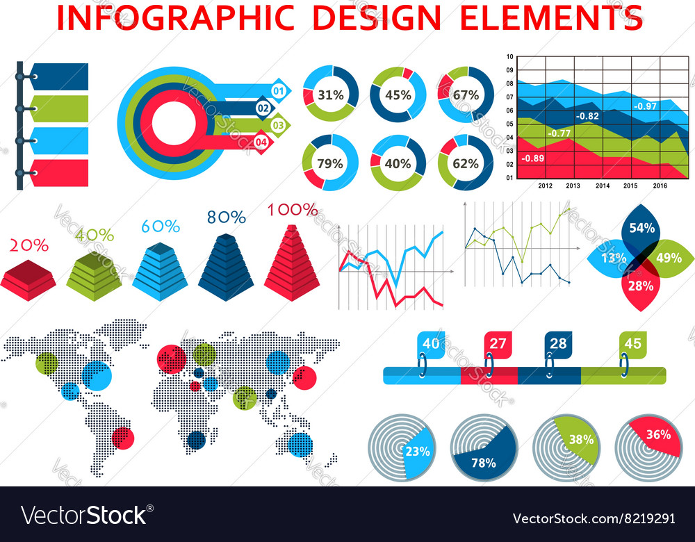 Map and charts infographis elements