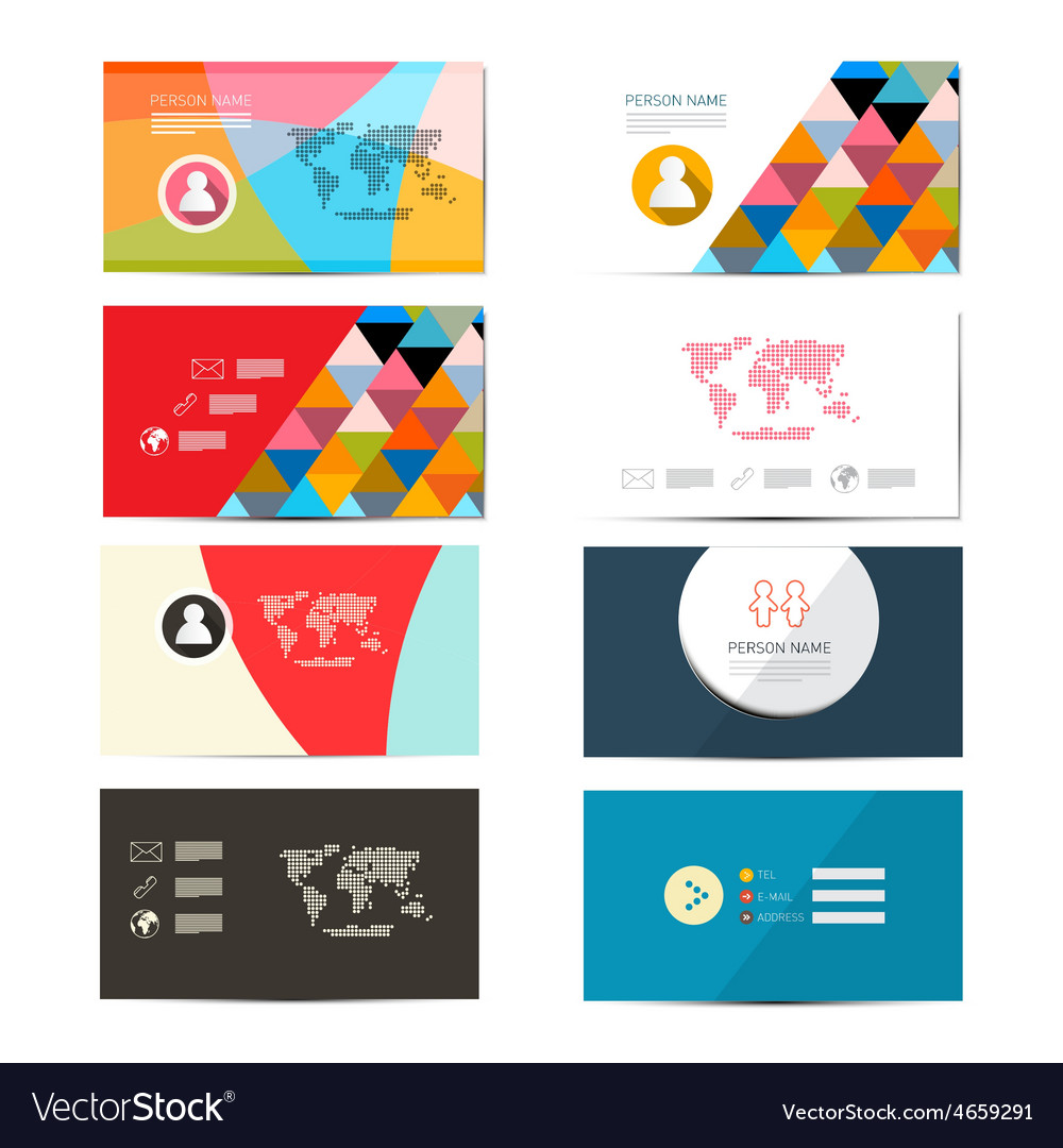 Paper Business Card Template Layout Set Vector Image - Business card template paper