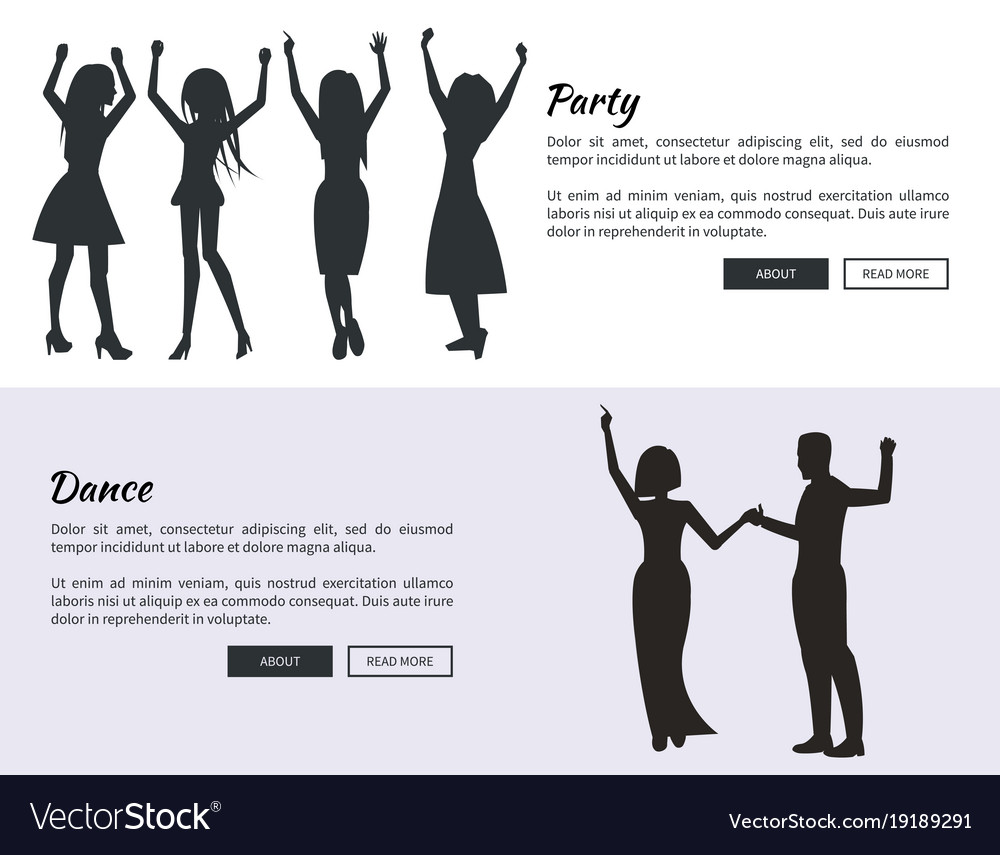 Party and dance posters with colleagues dancing