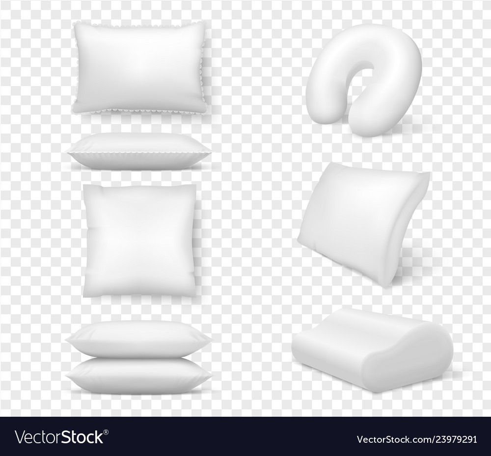 Realistic white pillows 3d comfortable