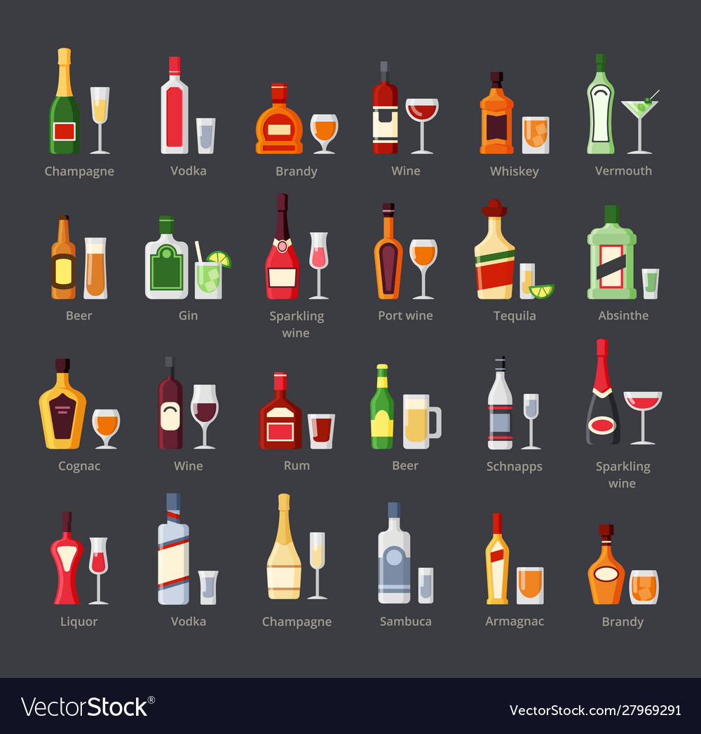 Various alcohol bottles with glasses flat icons