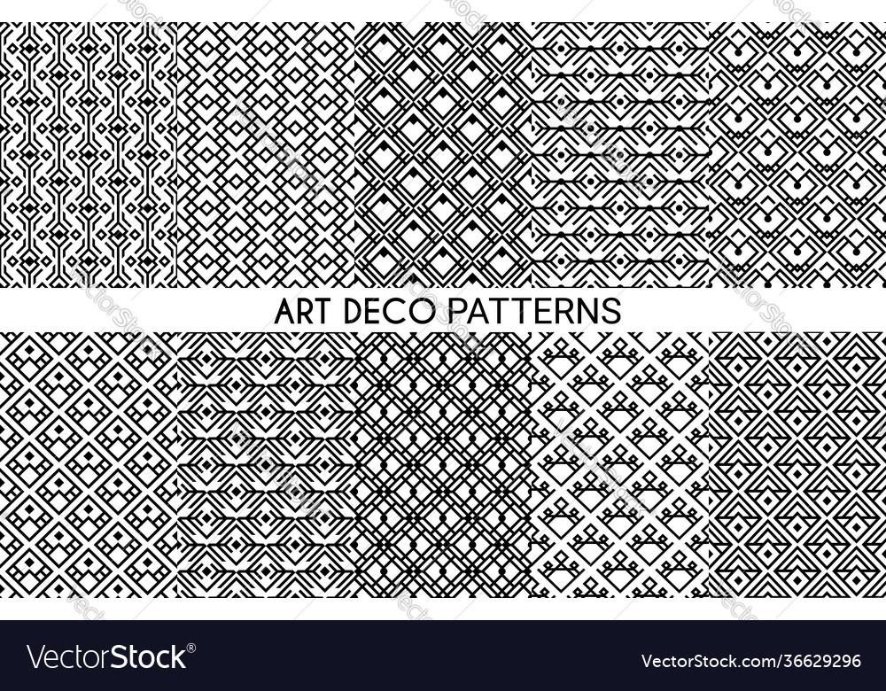 Art deco patterns seamless ornament set