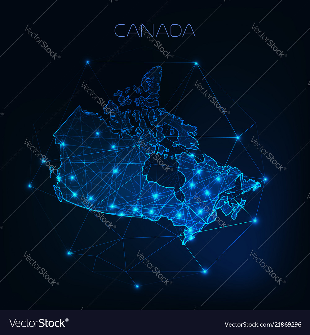 Canada map outline with stars and lines abstract