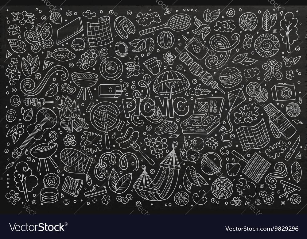 Chalkboard doodle cartoon set of picnic