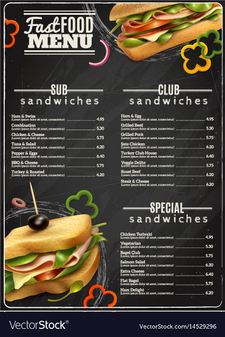 Fast food sandwiches menu advertisement poster
