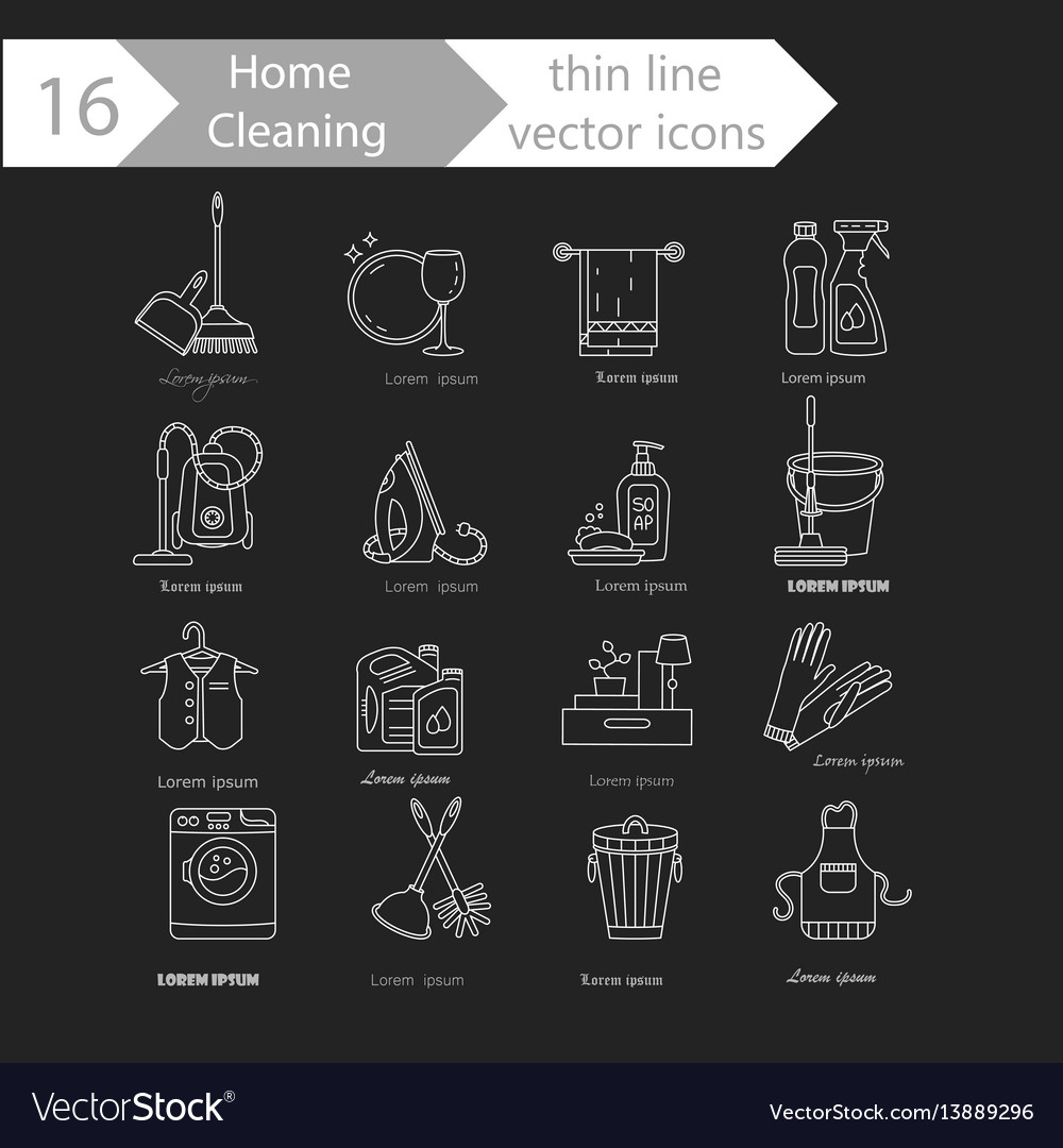 House cleaning thin line icon set