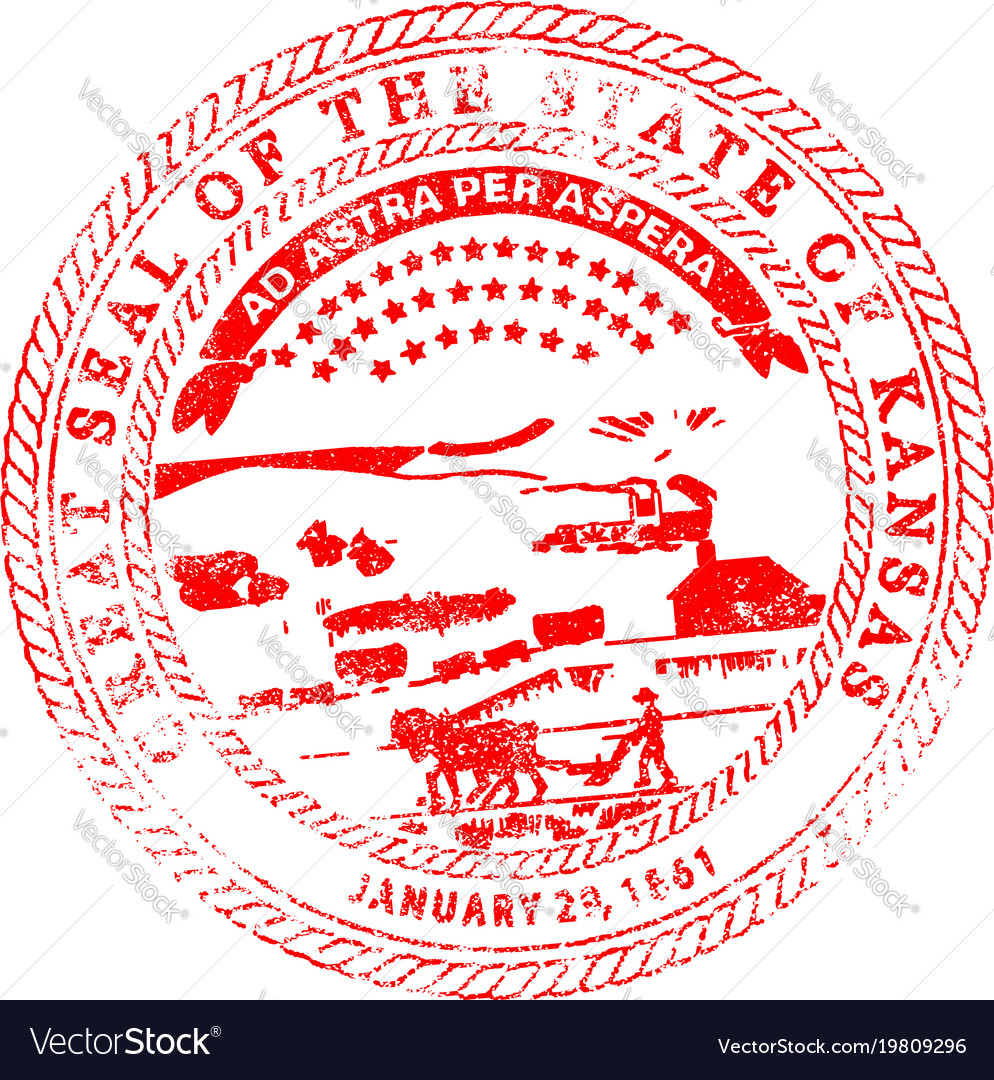 Kansas seal rubber stamp vector image on VectorStock
