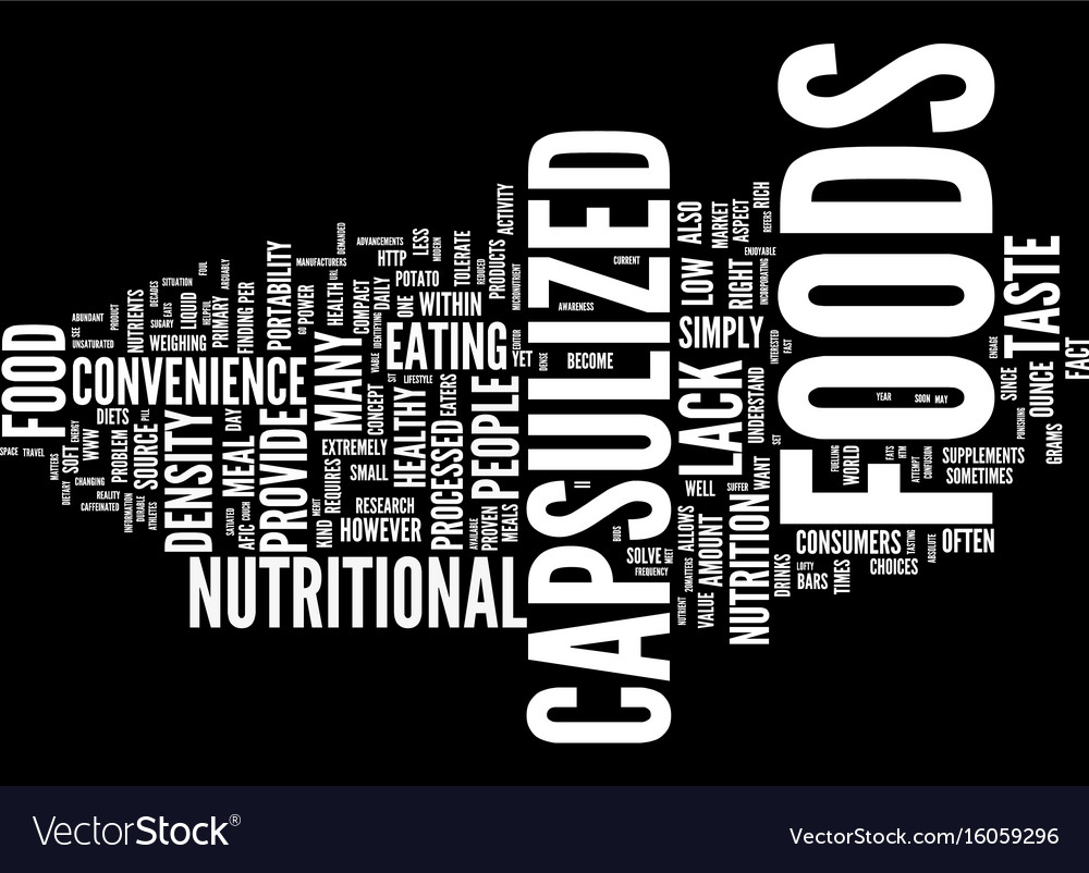 Power capsulized foods text background