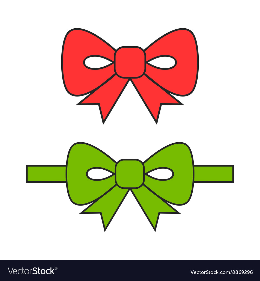 Red and green bows ribbons Flat object
