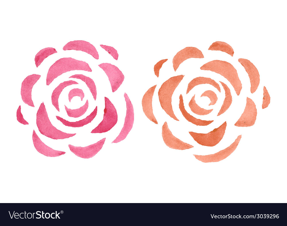Stylized watercolor roses