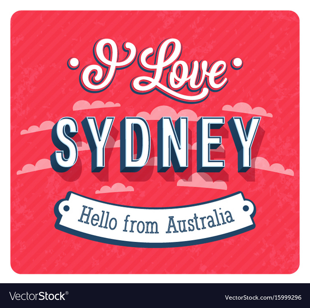Vintage greeting card from sydney vector image