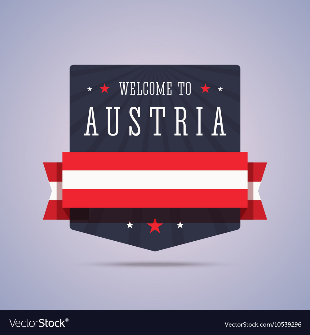Welcome to Austria badge with national flag