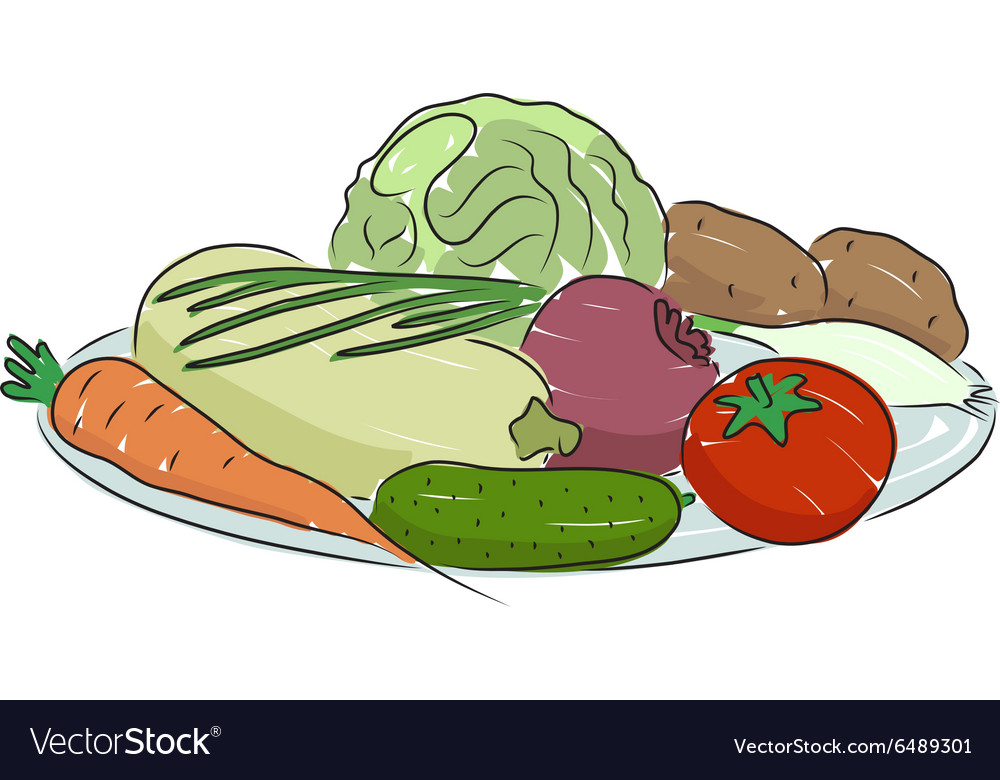 A plate with vegetables