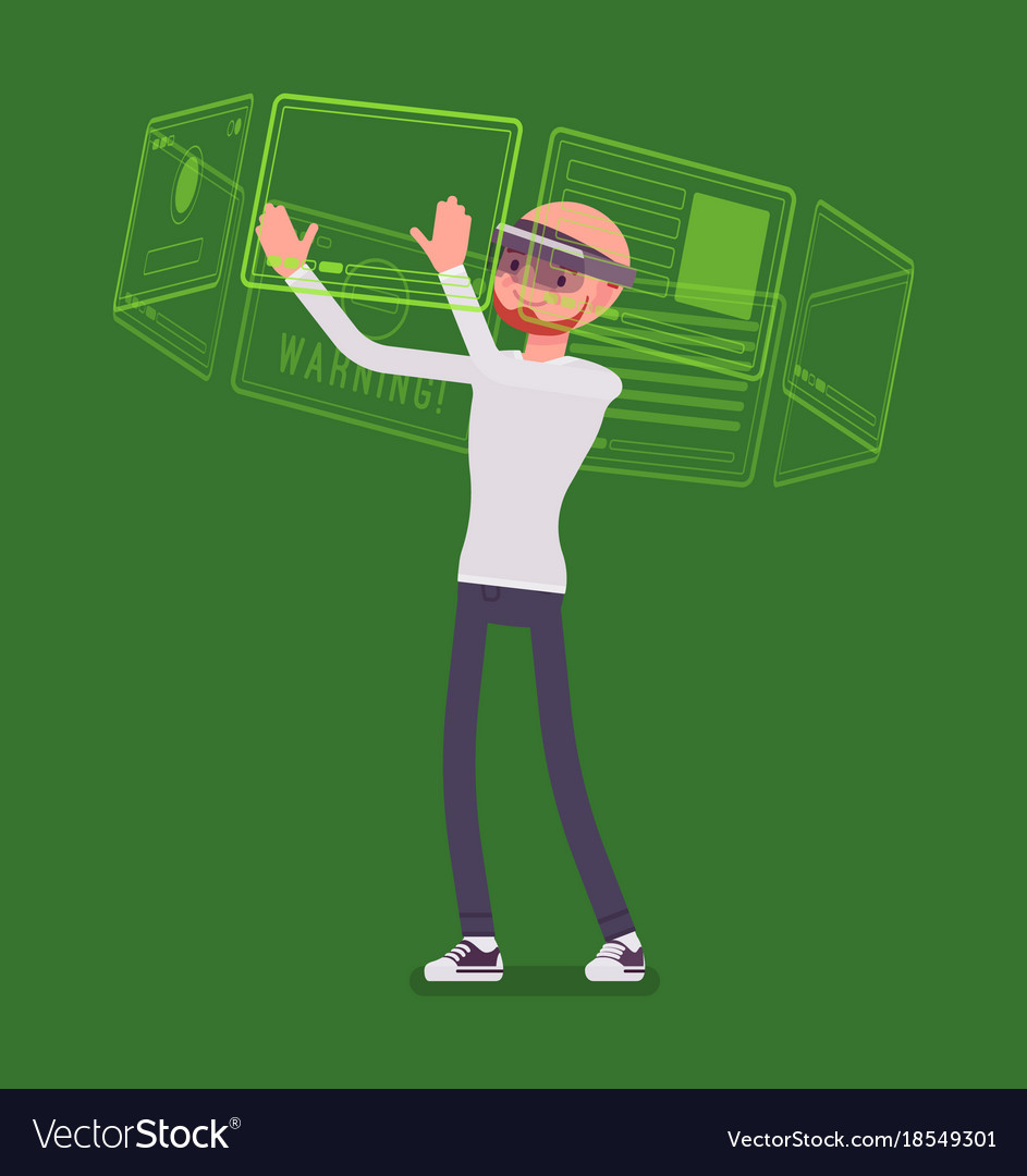 Augmented reality man and virtual interface
