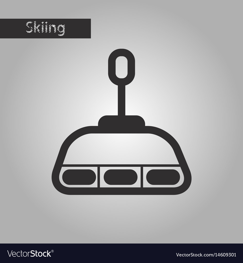 Black and white style icon cabin ski lift