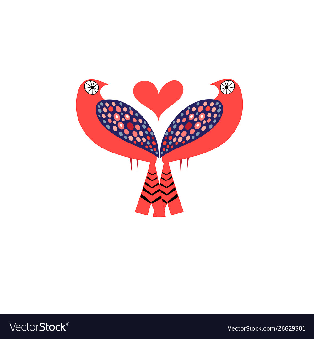 Bright love birds with hearts