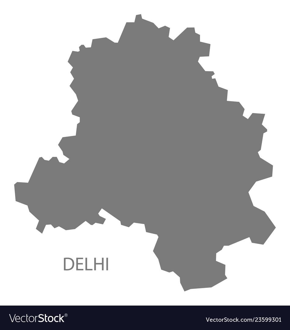 Delhi india map grey Royalty Free Vector Image on