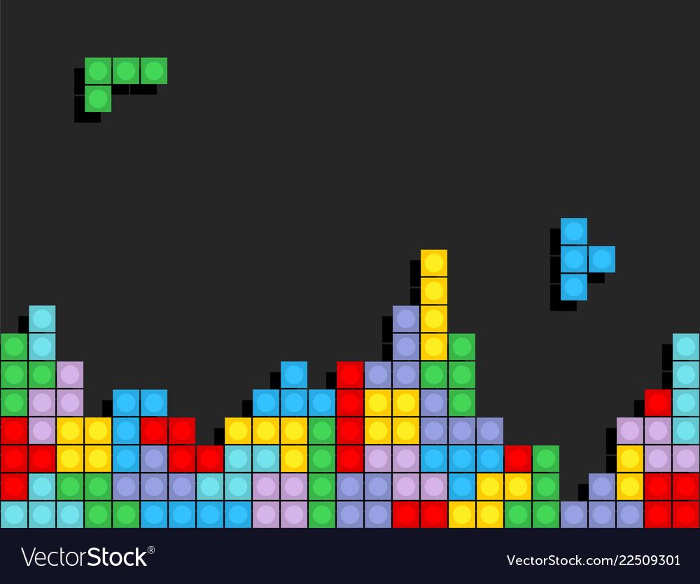Game Tetris Pixel Bricks Colorfull Game Background
