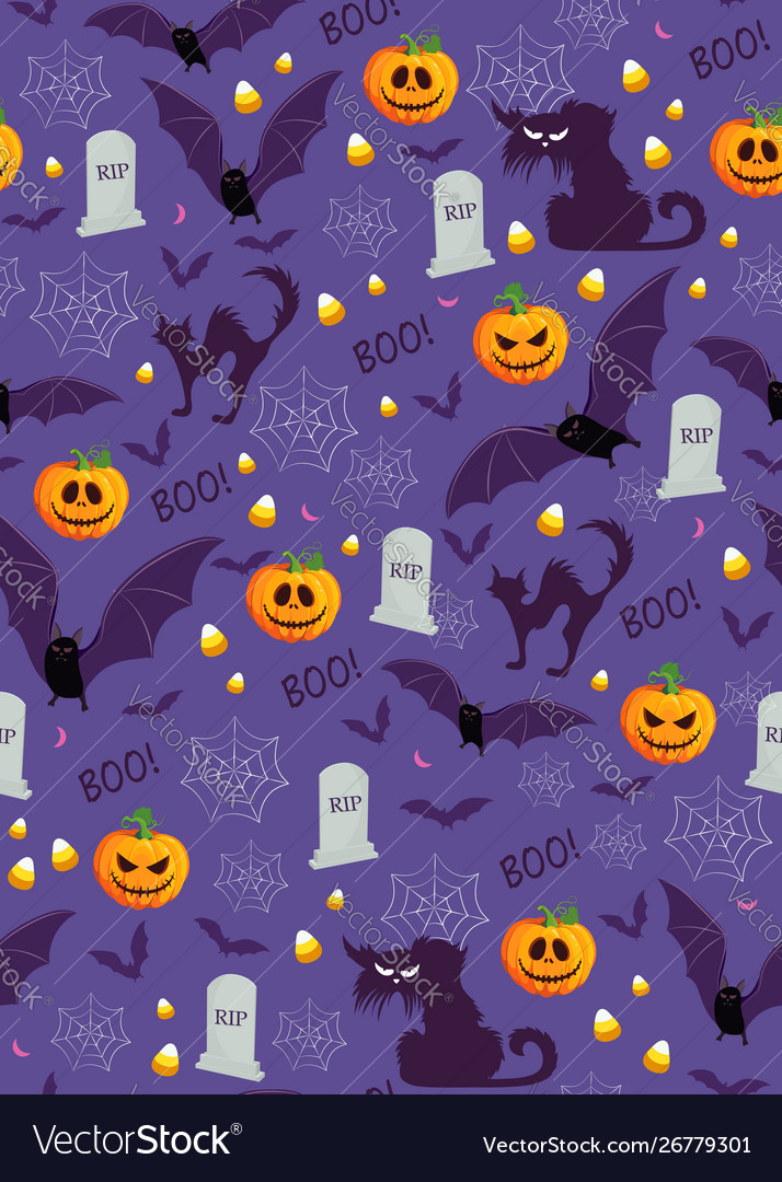 Halloween pumpkin seamless pattern on purple vector