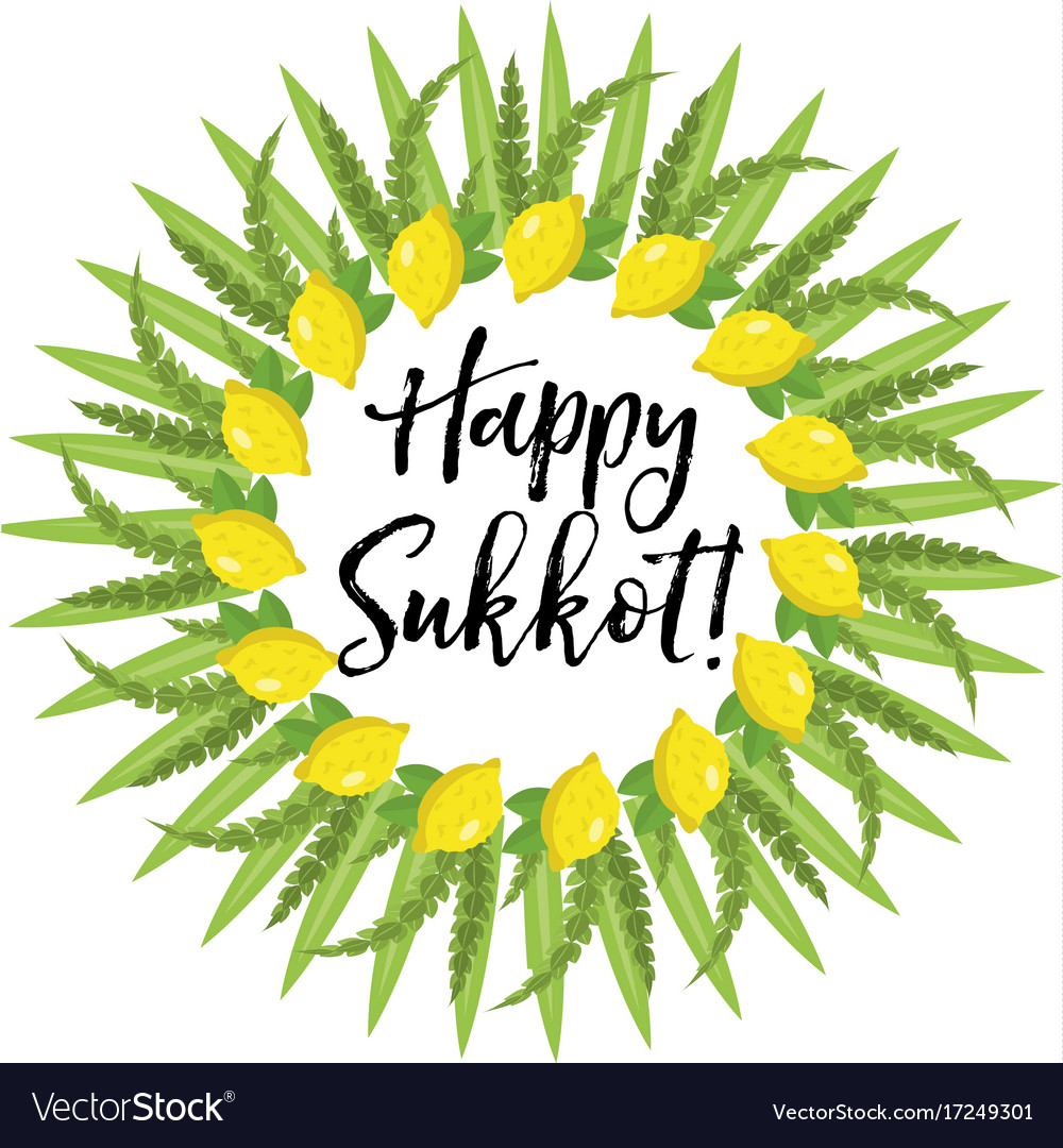 Happy sukkot round frame of herbs jewish holiday vector image m4hsunfo