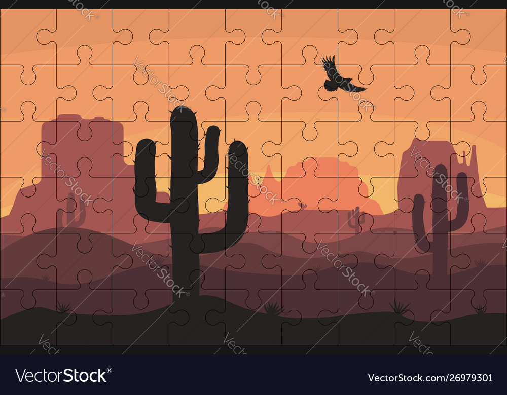 Puzzles template with rectangle grid and desert