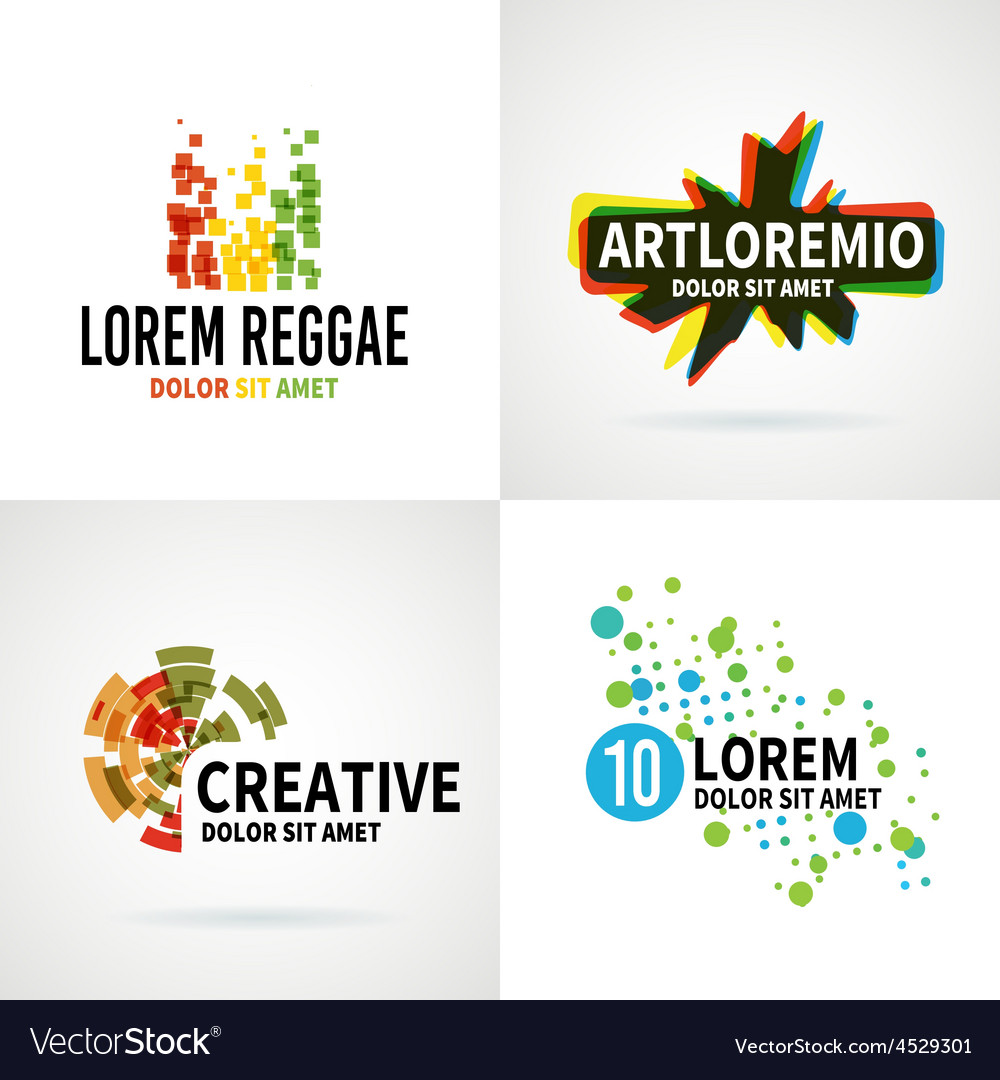 Set of modern colorful abstract logo emblem