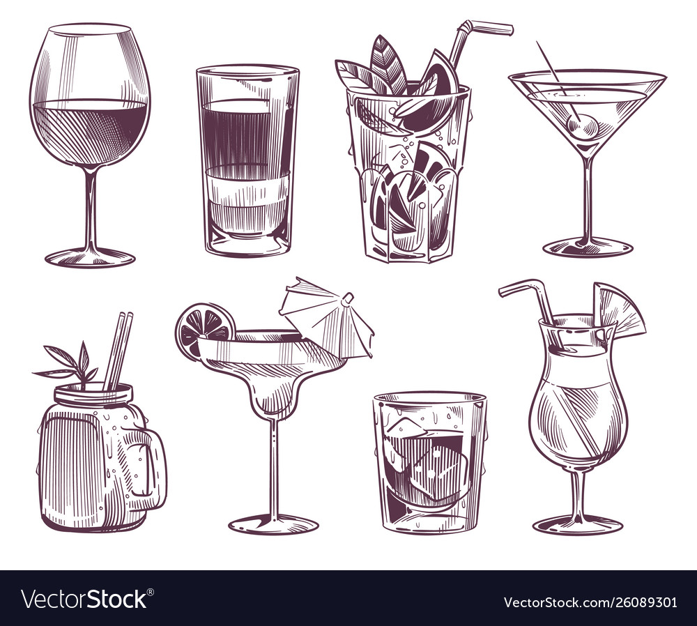Sketch cocktails hand drawn cocktail and alcohol