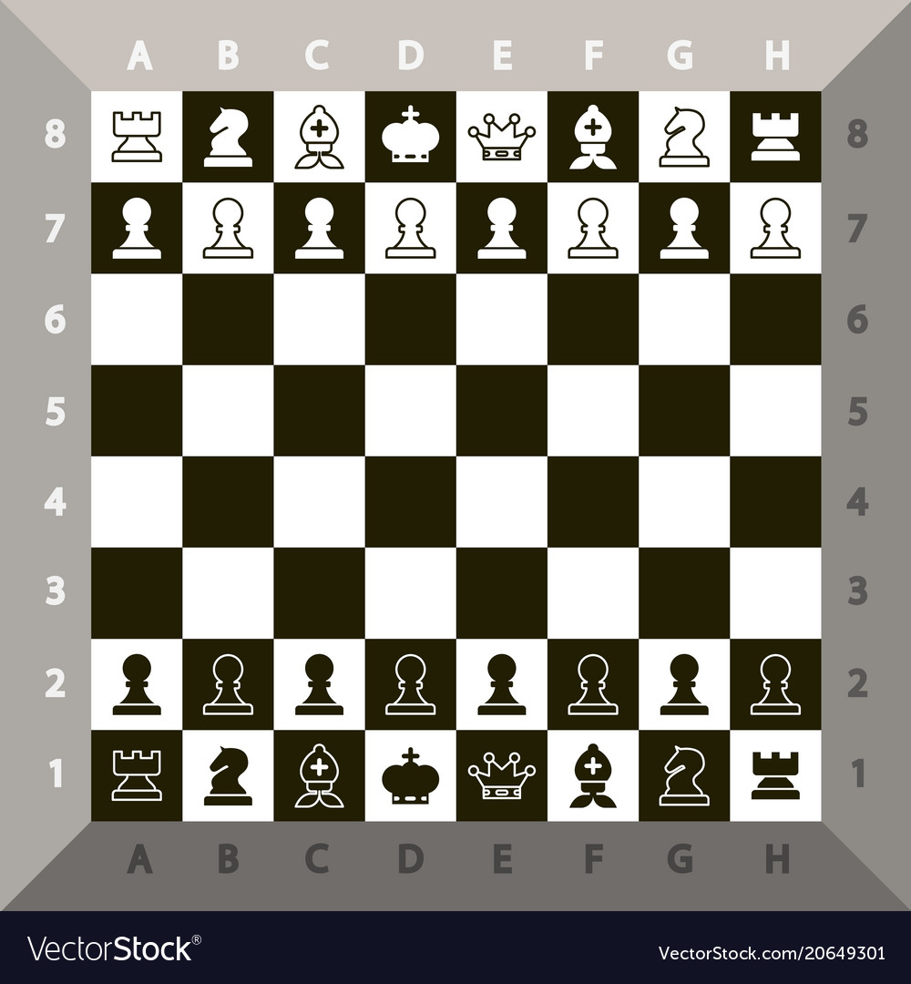 Top view chessboard chess game vector image
