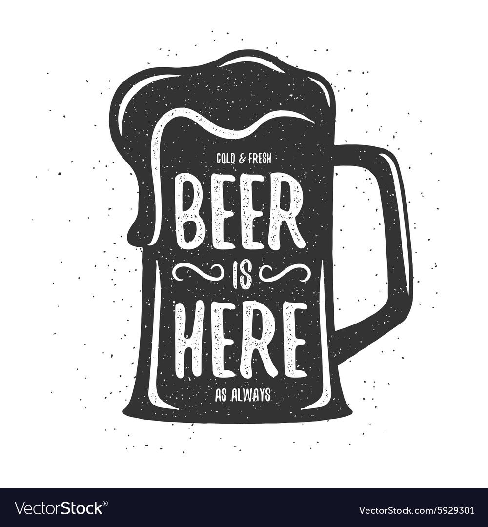 Vintage beer print T-shirt poster design