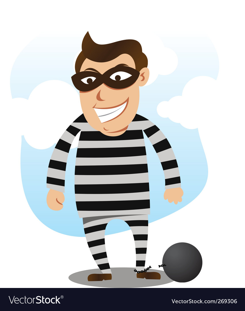 Bad guy free from jail vector image