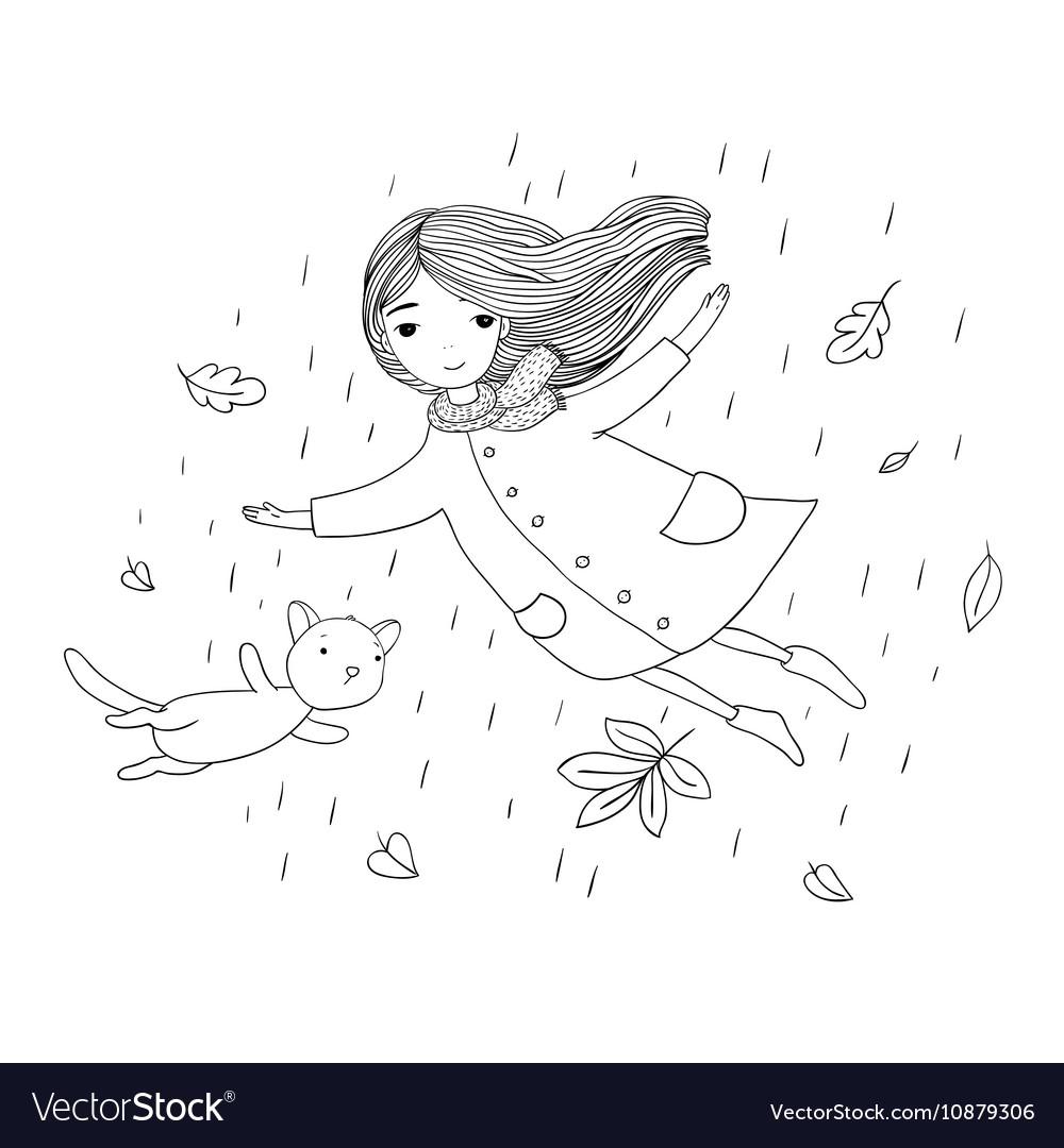 Beautiful little girl and a cute cartoon cat