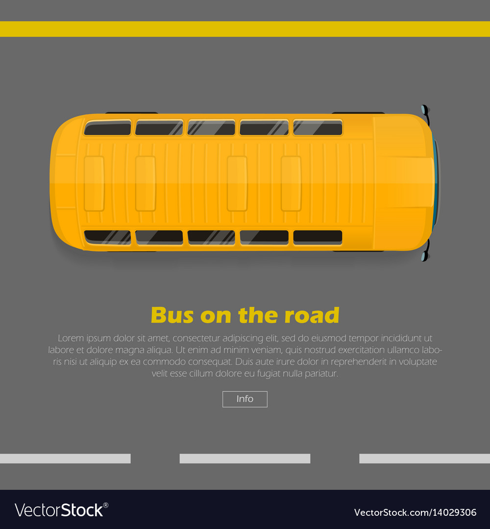 Bus on road conceptual flat web banner