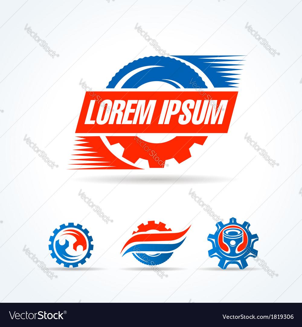 Car service symbol emblem sign set