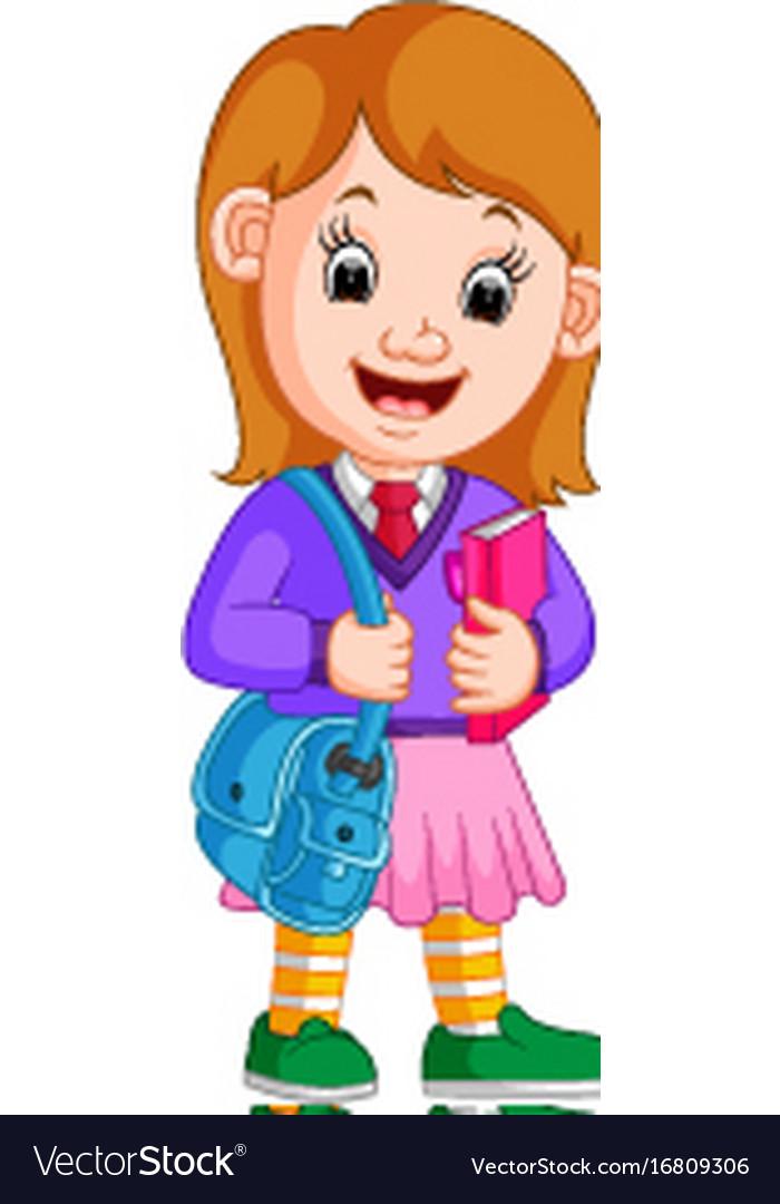 Cute Girl Go To School Cartoon Royalty Free Vector Image