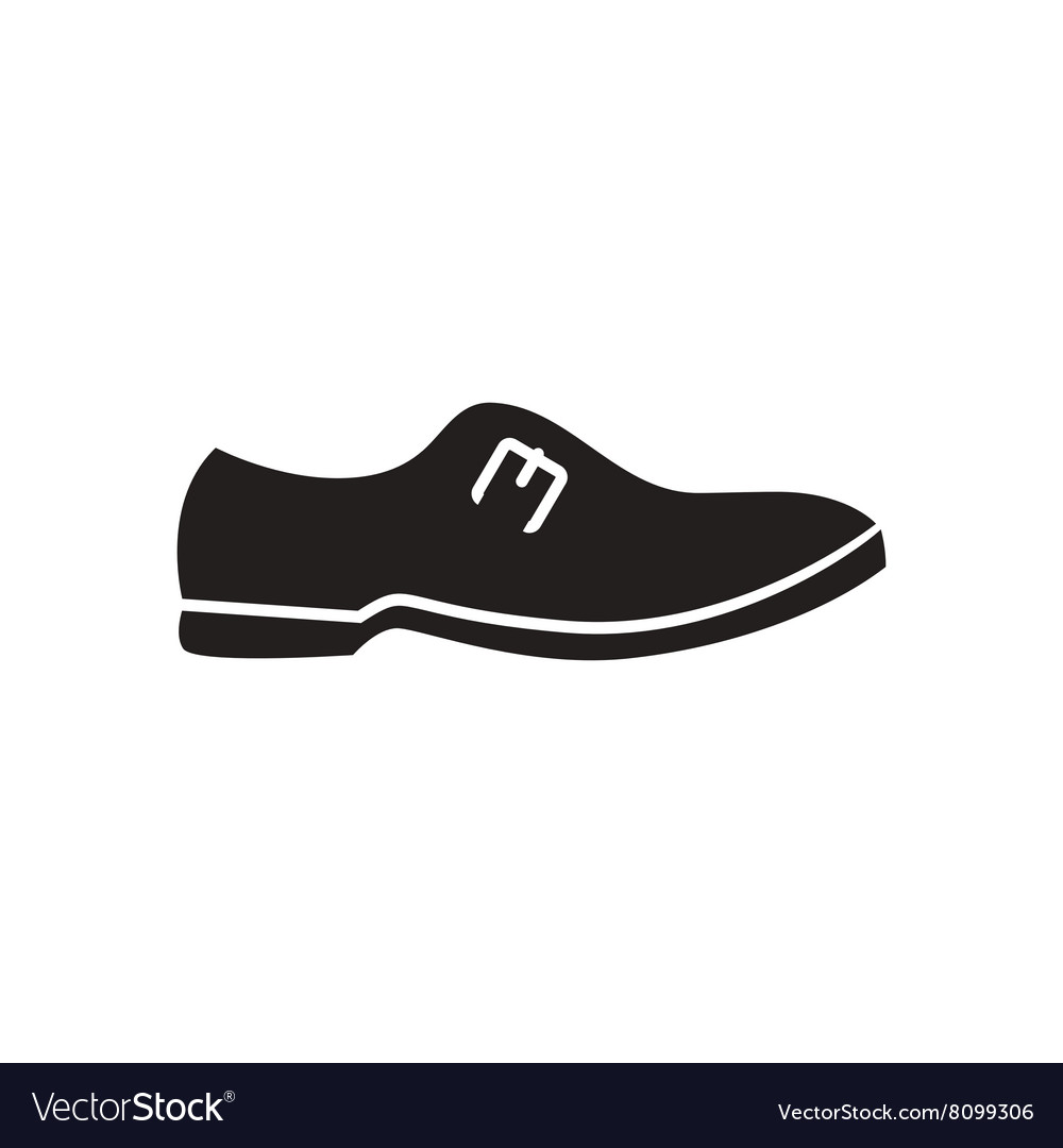 Flat icon in black and white male shoes