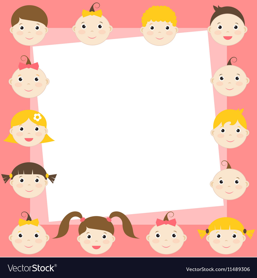 Frame with cute boys and girls vector image on VectorStock